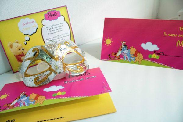 Invitatie botez roz cu Winnie the pooh
