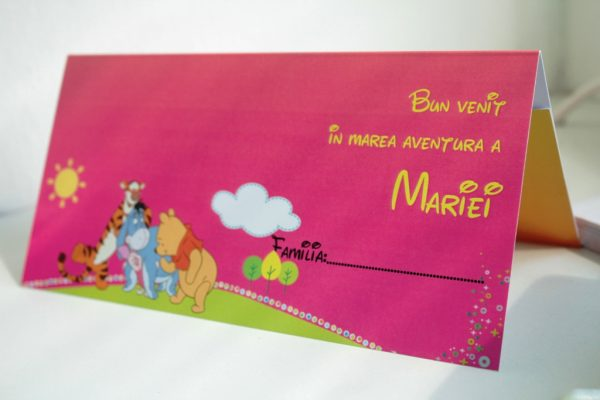 Plic de bani pentru botez roz cu Winnie the pooh