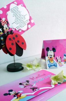 Invitatie pentru botez cu Minnie Mouse