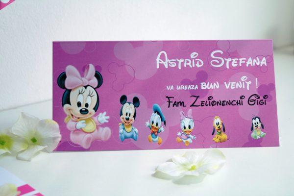Plic de bani pentru botez cu Minnie Mouse, model pe roz 3