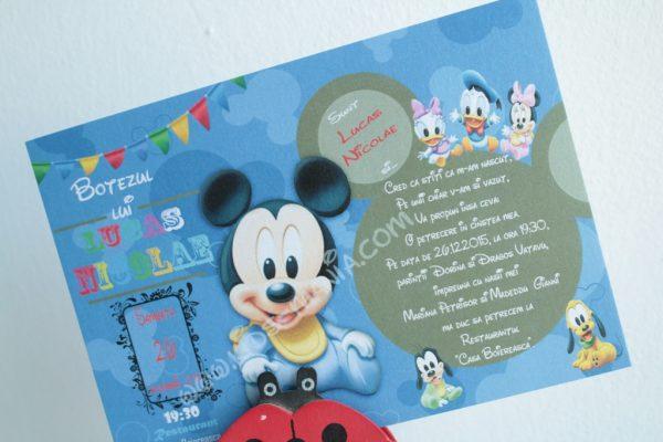 Invitatie pentru botez cu Mickey si Minnie Mouse