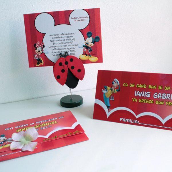 Model de invitatie pentru botez cu Minnie si Mickey Mouse 3