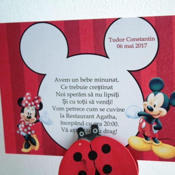 Model de invitatie pentru botez cu Minnie si Mickey Mouse 2