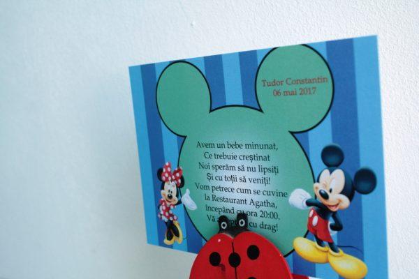 Invitatie albastra pentru botez cu Mickey Mouse 2