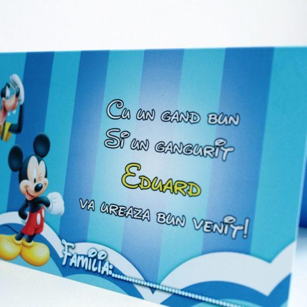 Plic de bani pentru botez albastru cu Mickey Mouse