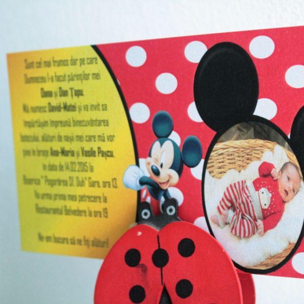 Invitatie cu Mickey Mouse si fotografia copilului