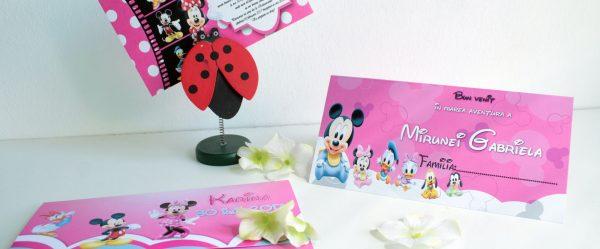 Invitatii si plicuri de bani cu tematica Disney