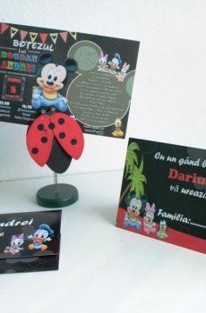 Invitatie pentru botez cu Baby Mickey si Minnie Mouse