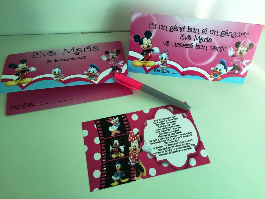 Set invitatie botez cu Minnie Mouse