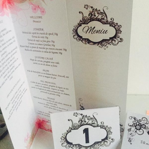 Meniuri personalizate pentru nunta Black and White