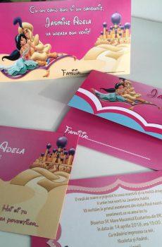 Invitatii si plicuri de bani pentru botez cu Aladin si Jasmine