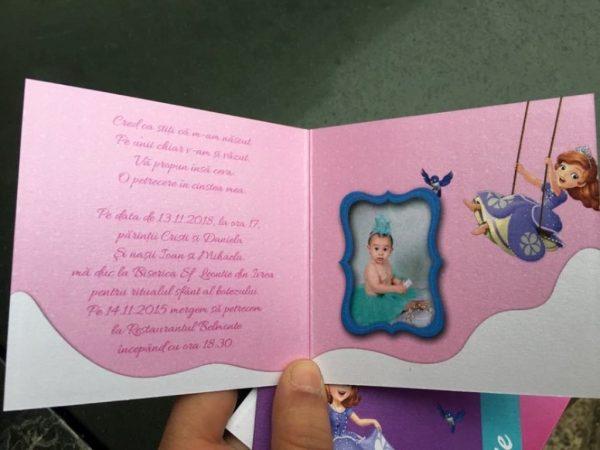 Invitatii pentru botez cu Printesa Sofia 2