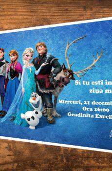 Invitatii petreceri copii cu Ana, Elsa, Olaf si poza sarbatoritului