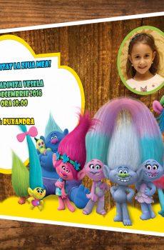 Invitatii petreceri copii cu Poppy din filmul Trolii