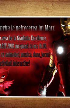 Model invitatie petreceri copii cu Iron Man