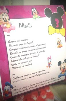 Meniu pentru botez cu Minnie Mouse