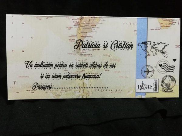 Plicuri de bani pentru nunta cu tematica harta lumii sau calatorie in jurul lumii