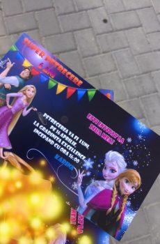 Invitatie petrecere copii ana elsa si rapunzel