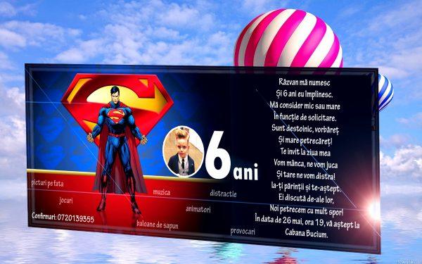 Invitatie petreceri copii cu Superman