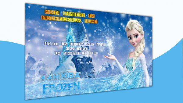 Invitatie petreceri copii cu Elsa model Kira