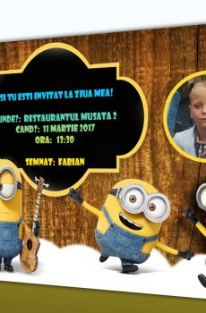 Invitatie petreceri copii cu Minioni