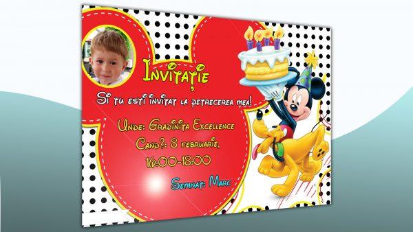 Model de invitatie cu Mickey Mouse