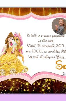 Invitatie petreceri copii belle model Sofia