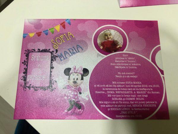 Set invitatii si plicuri de bani pentru botez cu Minnie Mouse 2