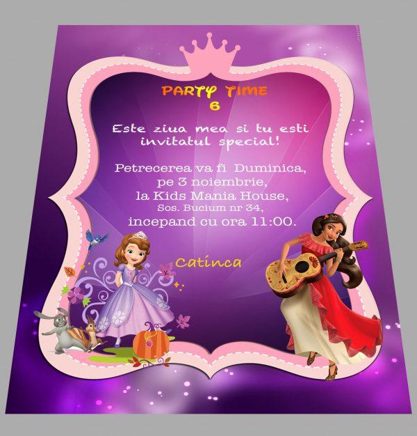 invitatie petreceri copii cu sofia si elena din avalor