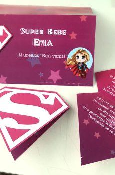 Set invitatii si plicuri de bani cu Supergirl 2