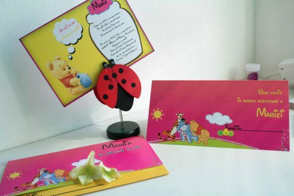 Invitatie pentru fetite cu Winnie the Pooh pentru botez