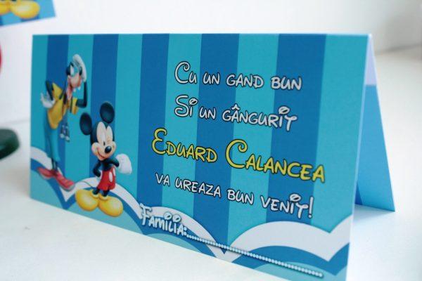 Plic de bani pentru botez albastru cu Mickey Mouse 2