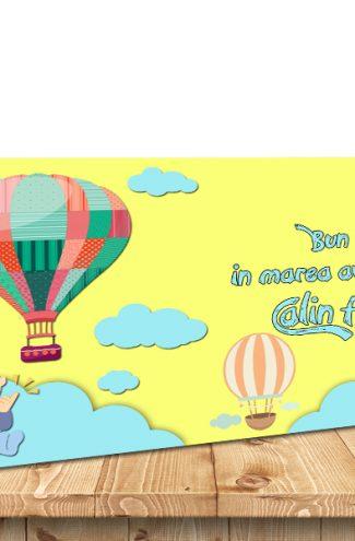 Plic de bani pentru botez cu tematica baloane cu aer cald