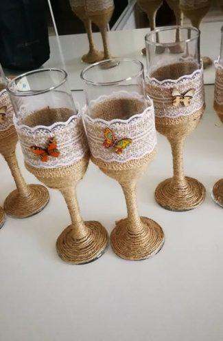 Set pahare nunta decor iuta si fluture