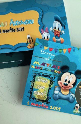 Set invitatie botez si plic de bani cu Mickey Mouse