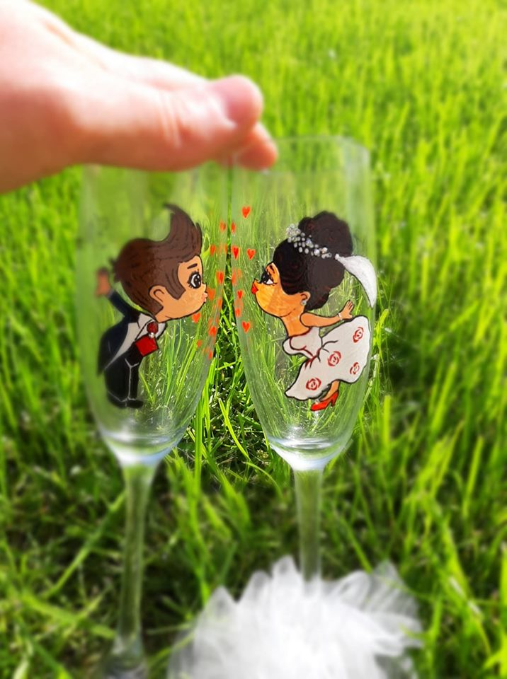 Pahare nunta pictate si personalizate