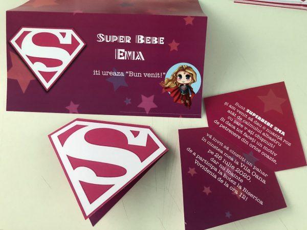 Set invitatii si plicuri de bani cu Supergirl